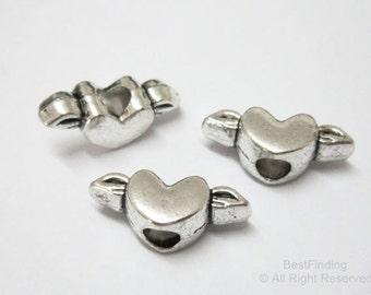 20pcs Wing heart sliders Big hole bracelet findings Heart beads