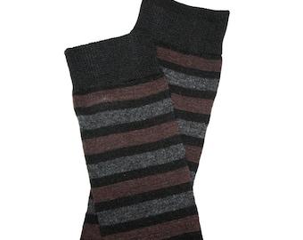 Black Brown Gray Striped Baby Leg Warmers