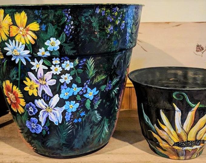 painted flower pot - planter  - birdhouse -  garden - mother gift - painted flower pot - sunflower - wife gift - grandmother gift,spring