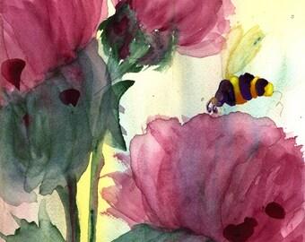 Fine Art Print van wilde bloemen en bijen, moderne botanische kunst Print, 12 x 16 botanische kunst