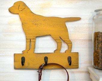 Lab Dog Leash Hook Leash Collar Hook Organizer Wood Labrador Retriever Leash Hook Holder