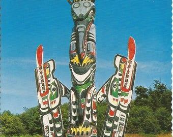 Vintage 1970s Postcard Kwakiutl Totem Pole British Columbia BC Canada Vancouver Island Native Art Pacific Coast Photochrome Postally Unused