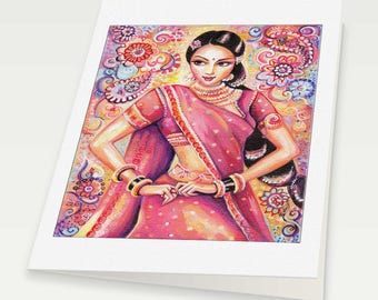 beautiful Indian woman painting Indian decor feminine beauty bollywood dance, Indian woman card, woman card, blank art card, 6x8