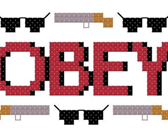 """OBEY """"They Live"""" 3""""x2"""" counted cross stitch PATTERN"""