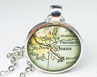 New Orleans Map Necklace- Vintage New Orleans Map Pendant Jewelry from a 1929 Atlas, New Orleans Necklace, New Orleans Pendant Necklace