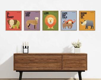 Wildlife of Africa, Nursery Animal Prints, Kids Room Art, African Big Five Wall Art, Retro Animal Illustrations, Set of 5, 8x10 print set