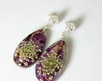 Purple Passion   Post  Earrings, Real Flower Earrings, Pressed Flowers Jewelry, Resin (3054)