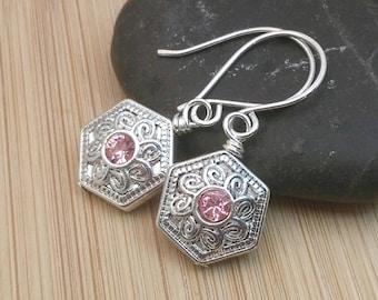 Pink and Silver Hexagon Earrings. Geometric Earrings. Pink Swarovski Jewelry. Bezel Set Swarovski Earrings. Mediterranean Medallion Earrings