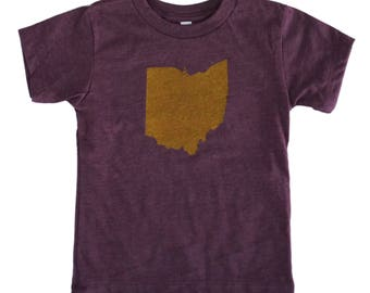 Toddler Tee - 'Ohio State' in Heather Wine and Gold