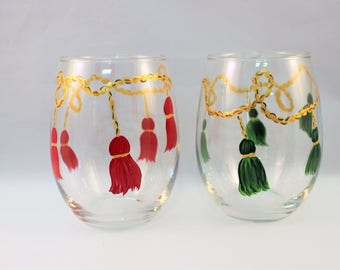 Hand painted stemless wine glasses with colorful tassels on gold rope, tassel wine glasses, Set of 2