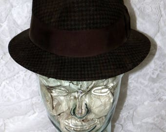 Vintage Men's Fedora Hat  - Brown Black Herringbone - Made in USA - Newport Merino Felt - Size 6 7/8