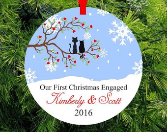 Our First Christmas Engaged |  Lovebirds Tree Ornament | Personalized Engagement Gift | First Christmas Ornament | Couples Gift - #OCL-1