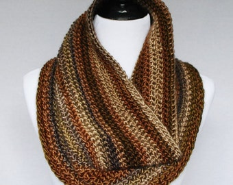 Brown, Tan Crochet Scarf, Striped Crochet Cowl, Brown Neck Warmer, Crochet Infinity Scarf  - Taupe, Beige