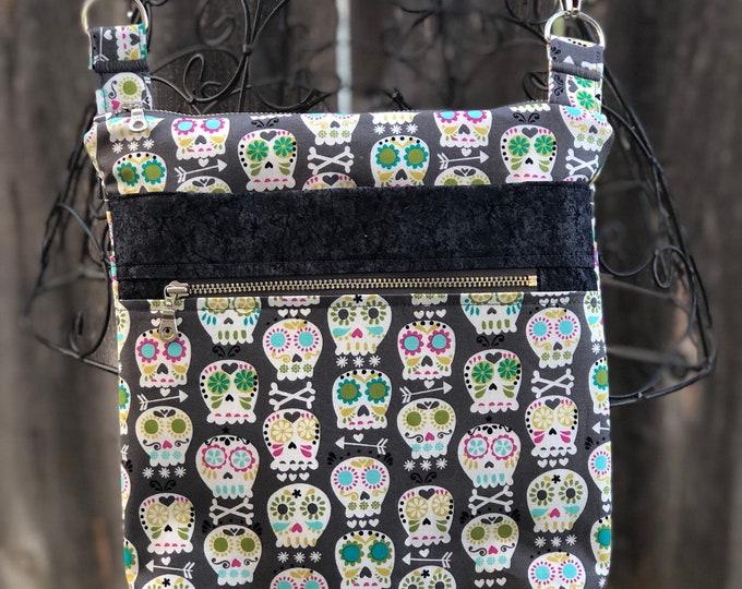 Cross Body Bag, Across The Body Bag, Sugar Skull Cross Body Purse, Adjustable strap, long handle purse, Travel Purse, Zippered Purse