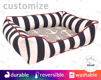 Nautical Anchor Dog Bed or Cat Bed  | Anchors, Stripes, Red, Navy, White, Sailor | Washable and High Quality!