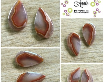 Agua Nueva Agate- 12x22mm (set of two)