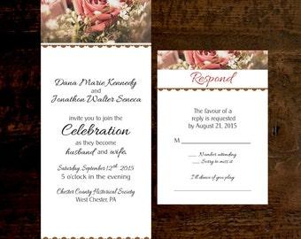 Wedding Invitation & RSVP Blush and Coral Rose Printed Wedding Invitations
