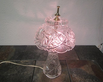 Vintage Lead Crystal Table Lamp With Crystal Shade , Night Stand Lamp,  Vanity Lamp