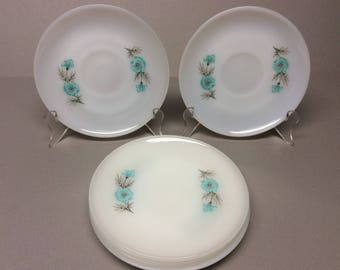 """6- Anchor Hocking Fire King """" Bonnie Blue"""" Cup Saucers ( No Cups) Made in the U.S.A. Ovenware"""