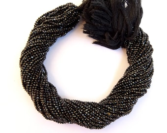 5 Strands Of Black Spinel  Micro faceted Rondelles , Black Spinel  Micro faceted Rondelle Beads  (AAA Quality)