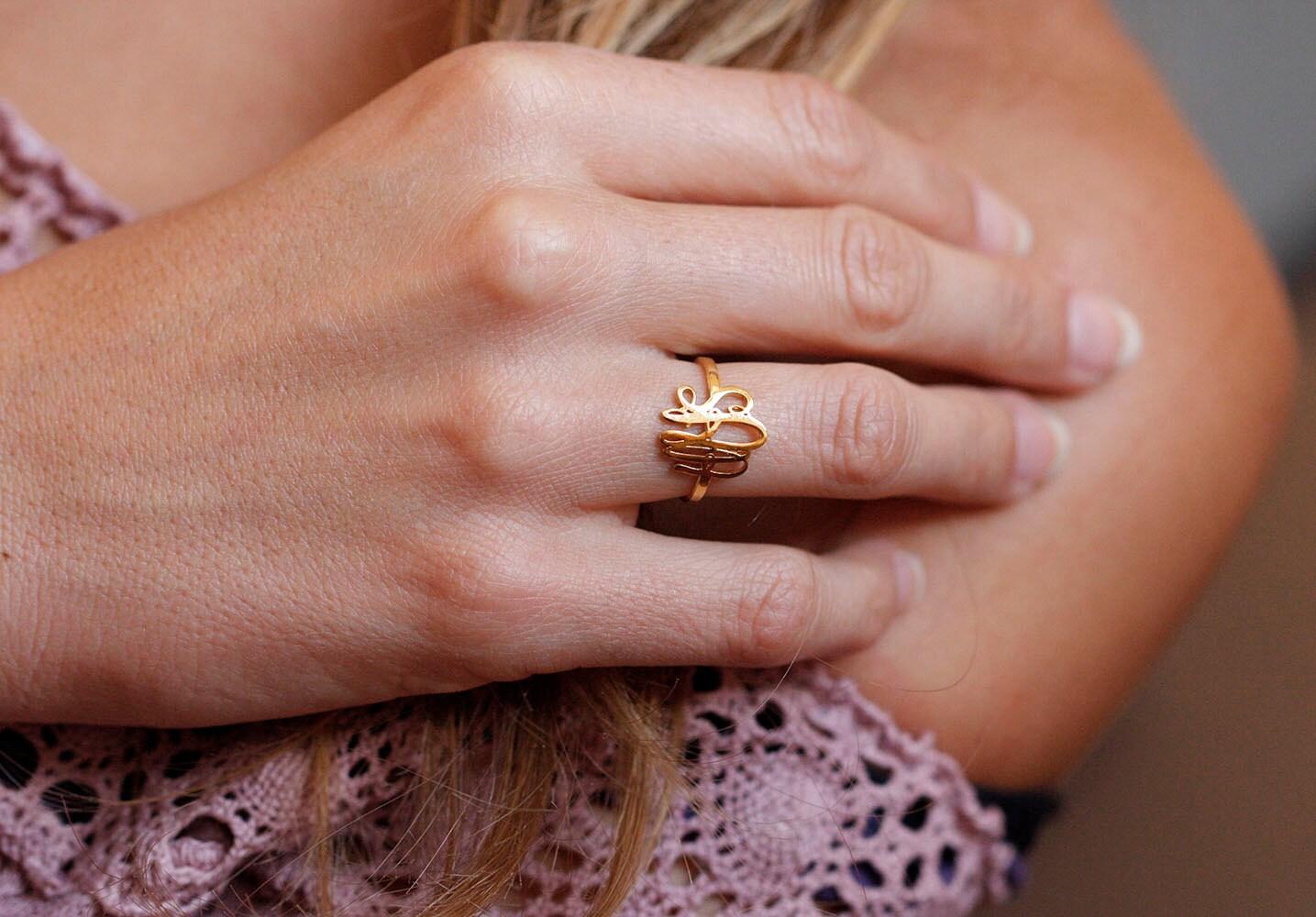 Gold Monogram Ring Gold Initial Rings Dainty Monogram Ring