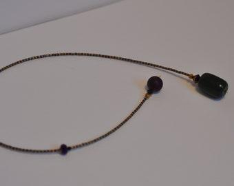 Bookmark jewel miyuki gold, green jade and labradorite, swarovski crystals.