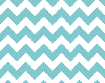 SALE-1 yard of Medium Aqua Chevron by Riley Blake