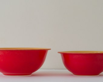 Set of Red & Yellow Vintage Pyrex Bowls
