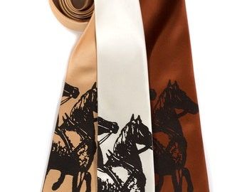 Horse Necktie. Equestrian men's tie. Horse lover, horse riding, tack shop gift. Espresso brown silkscreen print. Choose color & width.