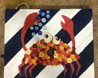 Clearance! Customizable Crab Button Wall Art
