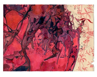 Watercolor art print, bright red modern abstract, Colonization: Red Wallpaper 1 (Magma Chambers)