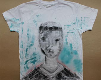 T-Shirt Basic hand Painted - cotton fatto a mano dipinto a mano hand craft cotone made in italy arte moda colore