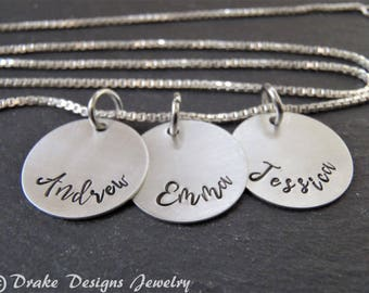 Sterling silver custom name / mom gift / custom hand stamped necklace with kids names
