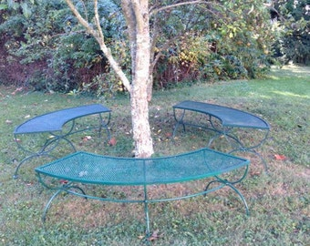 Set of three vintage wrought iron curved benches