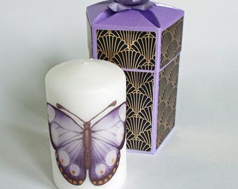 Handmade hexagonal box with candle