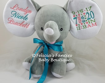Personalized Stuffed Animal Dumble Birth Announcement Floppy Eared Stuffed Plush Elephant, New Baby Gift by Felicia's Fancies Baby Boutique