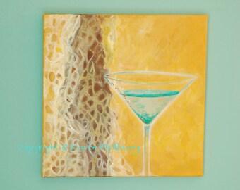 acrylic painting -Aqua Blue Martini- ORIGINAL- restaurant, bar, art OOAK 12x12