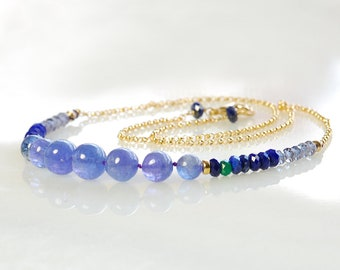 Tanzanite Gold Filled Necklace. Blue Gemstone Beaded Necklace by Agusha. N0063