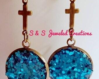 Turquoise Faux Druzy Drop Earrings, Turquoise Earrings, Glittery Earrings, Cross Earrings