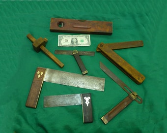 Antique wood working tools-old carpenter square-vintage level-woodworking lot - stanley more collection prop