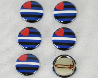 Leather BDSM Pride mini pin buttons 6-pack