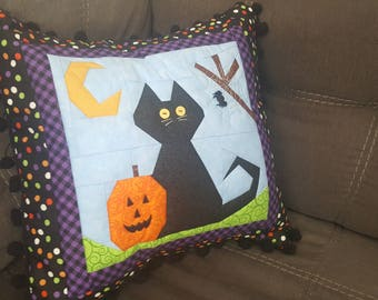 Halloween Black Cat and Pumpkin Decorative Quilted Throw Pillow Cover 16x16