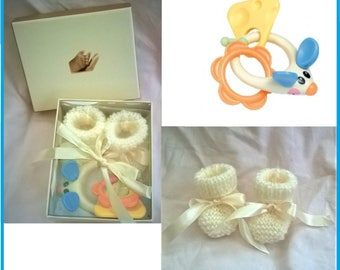 Baby Rattle and wool shoes