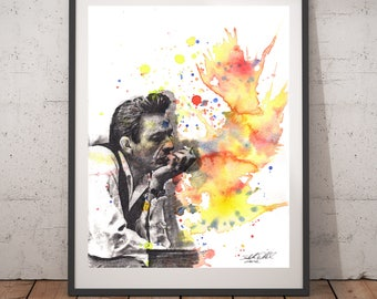 Johnny Cash Portrait Art Poster Print From Original Watercolor Painting Johnny Cash Poster 13x19 Johnny Cash Art Painting Poster Print Gift