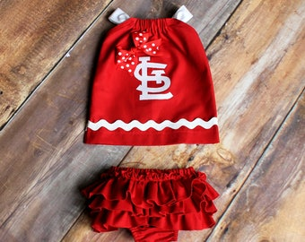 St Louis Cardinals Pillowcase Dress with STL patch - Newborn to Child Size 11/12  girls baby infant toddler red white dress