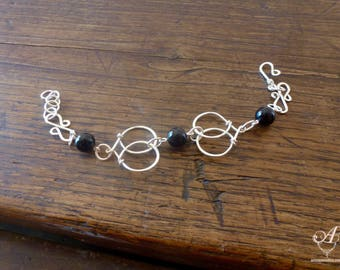 Silver plated bracelet with a black onyx beads - color and customizable length - original handmade jewelry - gift for her