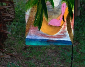 Lazy Flamingo in a hammock yard flag from my art.  Available in 2 sizes
