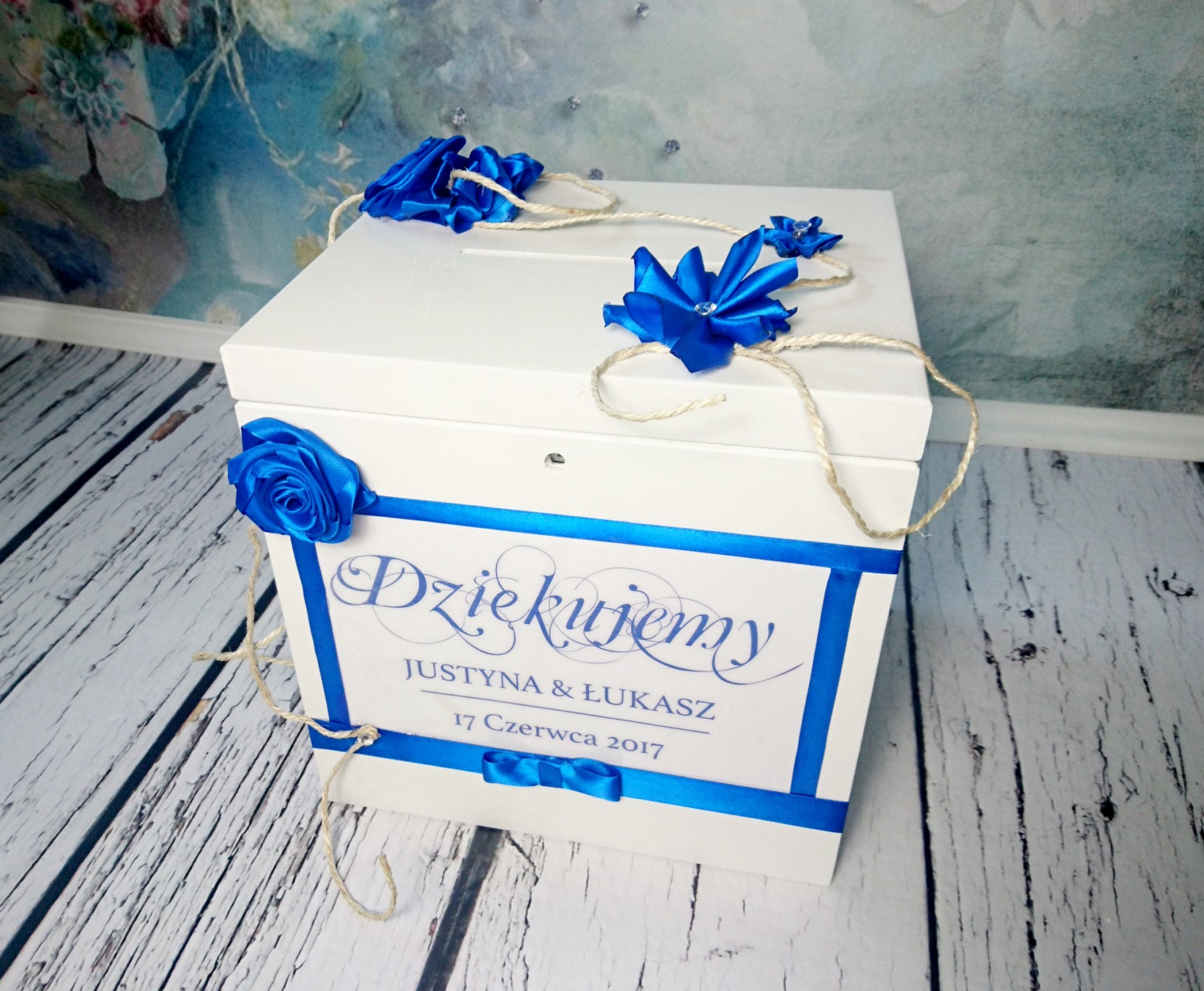 White blue Wooden wedding cards keepsake key locked memory box ...