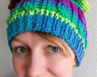 Messy Bun Cable Crochet Beanie