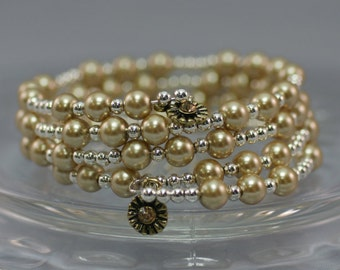 Champagne/Silver Glass Pearl Coil Bracelet